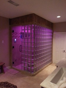 Glass block steam shower with Kohler spa shower system with LED lights Atlanta Georgia