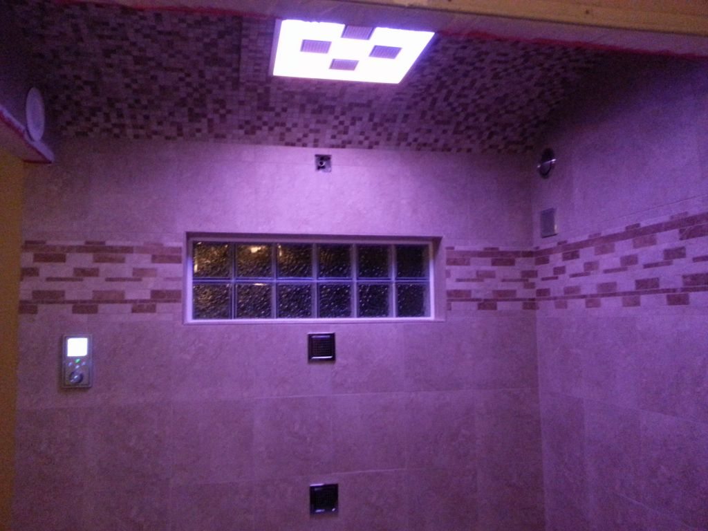 Kohler Shower System With LED Lights Body Sprays And Rain Shower Head And  Glass Block Shower