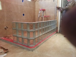 Thinner prefabricated glass block sections during the installation process