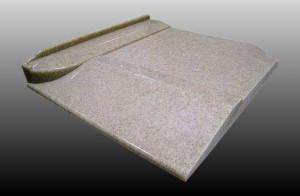 solid surface roll in shower curb design