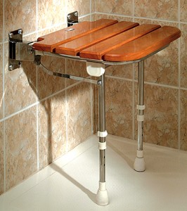 AKW fold down seat in a barrier free shower