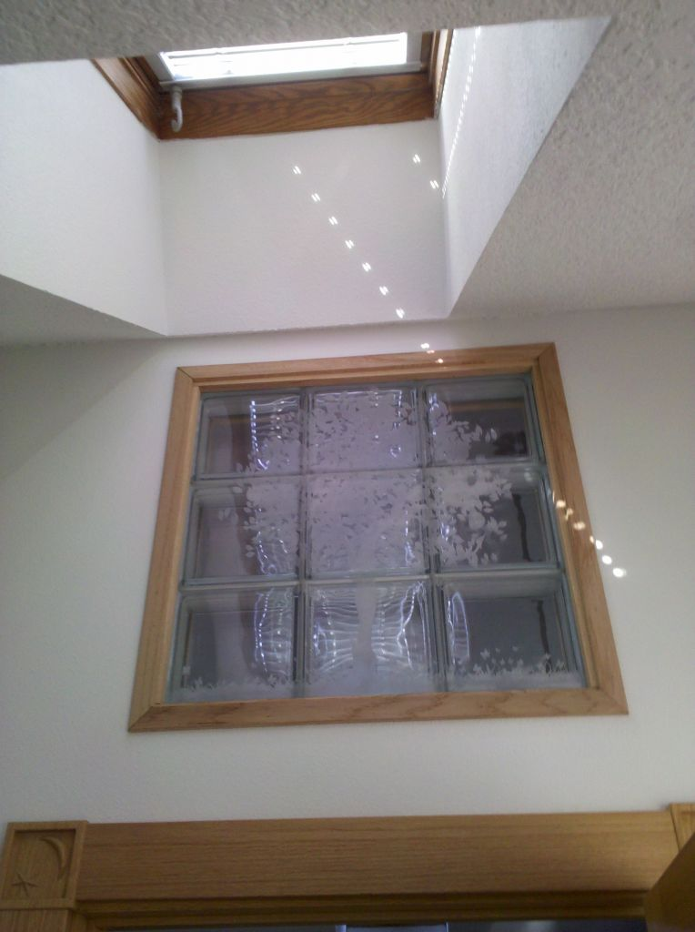 Laser etched glass block windows or shower walls for Glass block windows prices