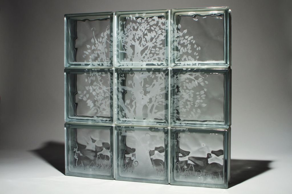 Laser Etched Glass Block Windows Or Shower Walls