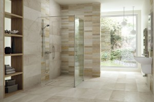 Luxury roll in shower with a stationary shower screen