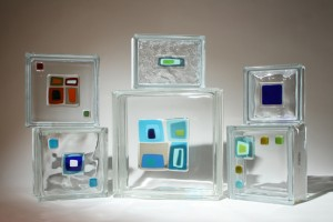 Selection of glass tile blocks on various sized and pattern of blocks
