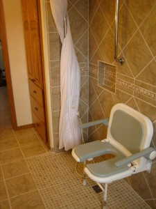 Barrier free shower pan from AKW for an accessible wet room