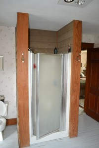 "Old fiberglass 36"" x 36"" shower with a flimsy framed shower door"