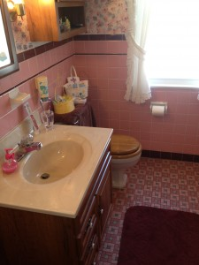 Parma bathroom before remodel with old pink and gray tiles