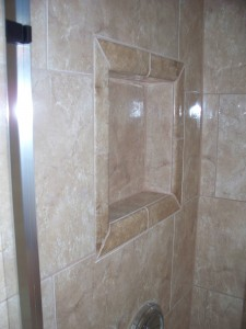 Waterproof wedi wall niche working around plumbing on shower head wall