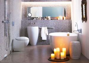 European style bathroom with a small tub