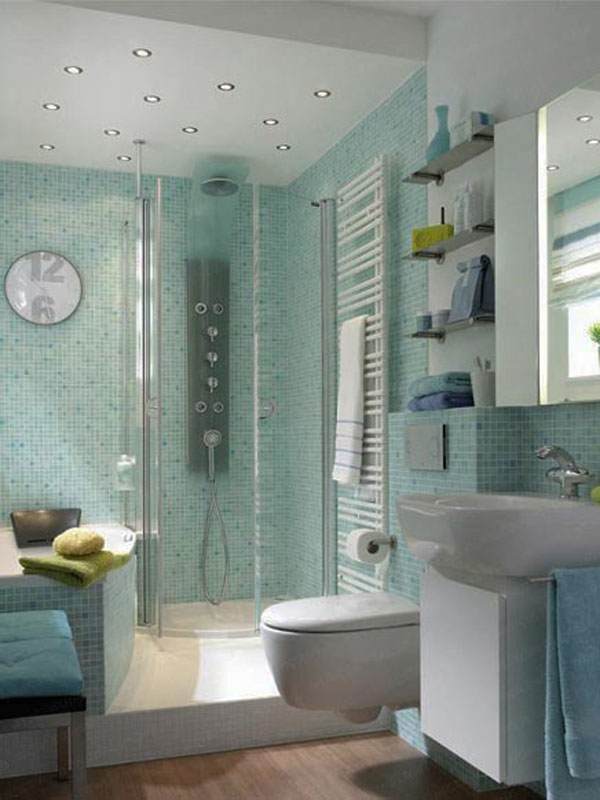 Clear Glass Enclosure In A Small Bathroom