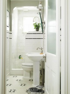 Shower window in a tiny bathroom design