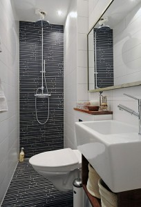 Small bathroom using a wet room shower with wall mounted toilet