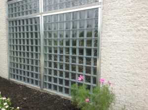 Glass block windows installed in an aluminum storefront in Cleveland Ohio