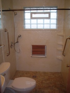 Barrier free wheelchair accessible shower in a 5' x 7' bathroom