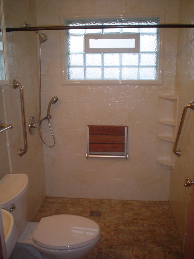 Barrier free wheelchair accessible shower in a 5 x 7 bathroom