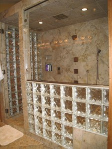 """16"""" deep shower bench seat works out well with two 8 x 8 glass blocks"""