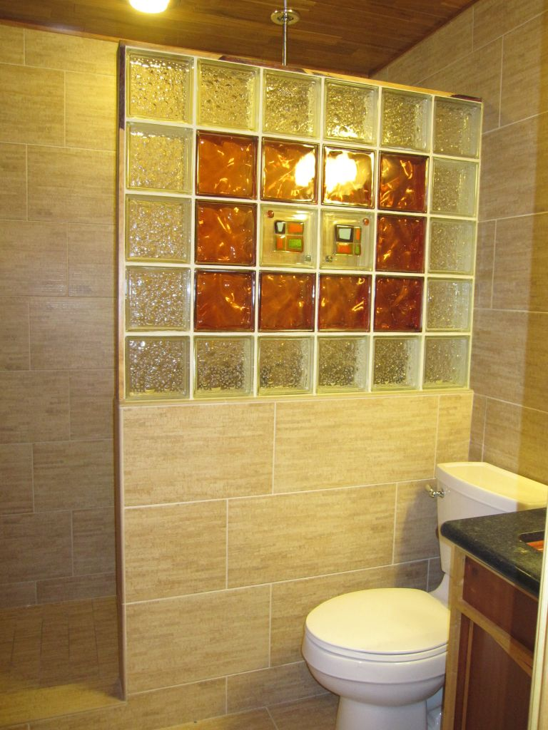 12 x 24 happy floor tile bambu beige in shower walls - Bathroom Designs Using Glass Blocks