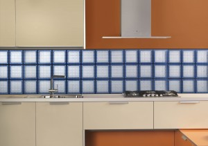 Blue Mosaic Tile Glass Block Kitchen Backsplash