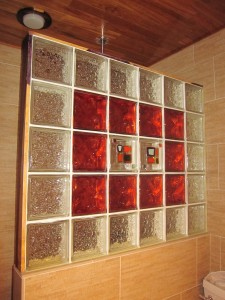 Decorative colored glass tile block wall using decora vue and seascapes patterns