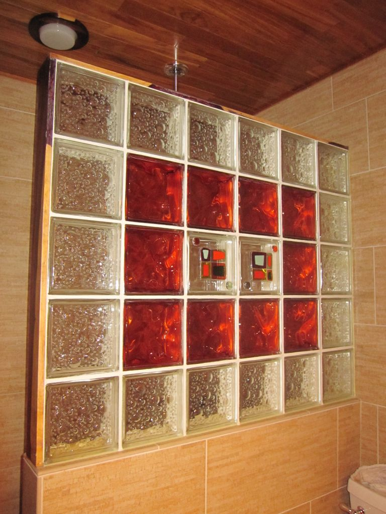 Decorative Block Wall decorative glass block shower, bamboo porcelian tiles & cocobolo