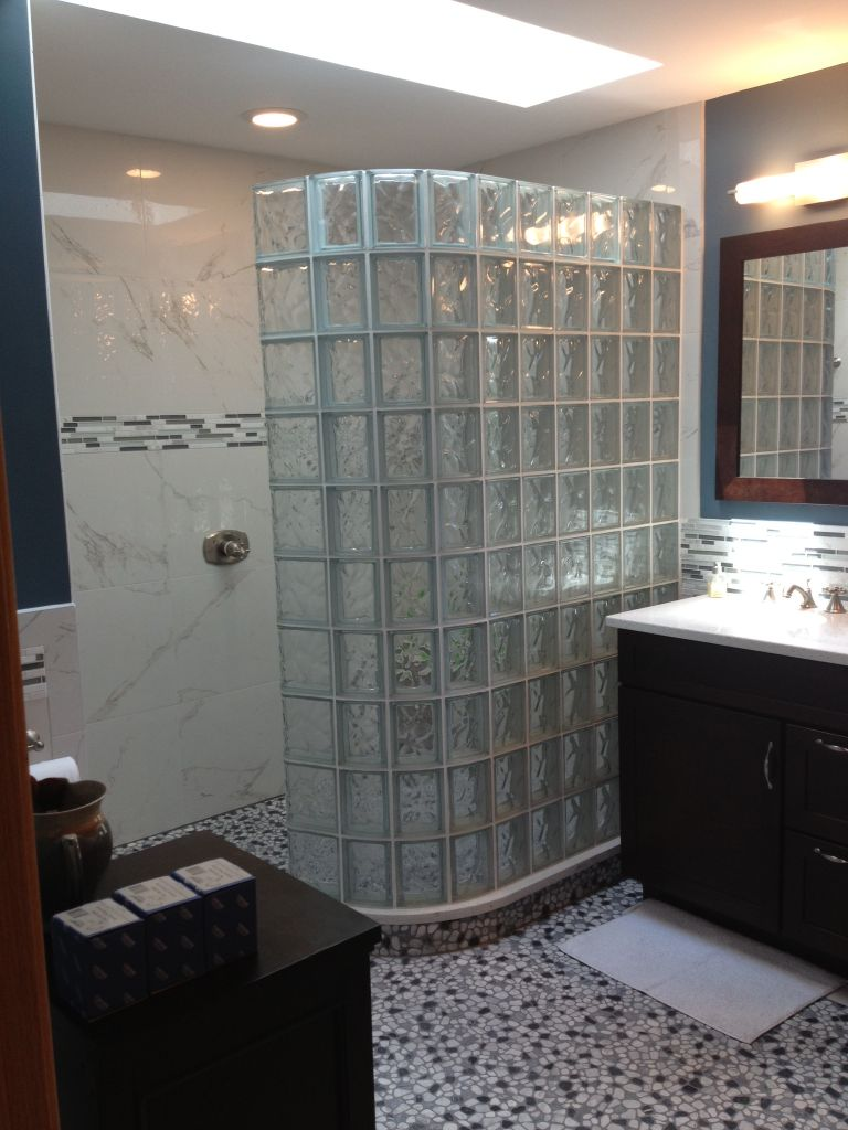 Bathroom remodel with curved barrier free glass block walk in shower in black hawk colorado Glass bathroom design ideas