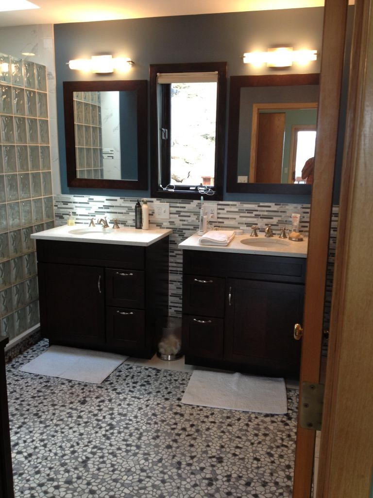 Bathroom remodel with curved barrier free glass block walk for His and hers bathroom