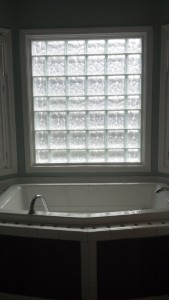 Inside view of frosted glass block window