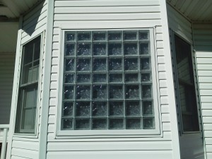 Outside view of glass block window with smooth outside face and frosted inside face