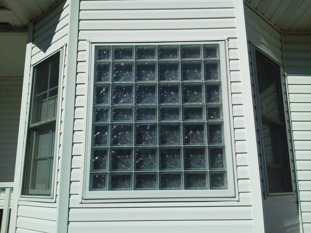 Good Outside View Of Glass Block Window With Smooth Outside Face And Frosted  Inside Face