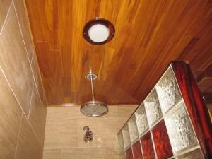 Teak ceiling from inside of shower
