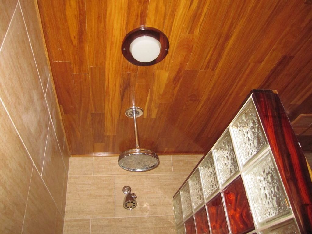 Decorative Glass Block Shower Bamboo Porcelian Tiles