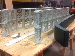 premade glass block sections and tile backer border