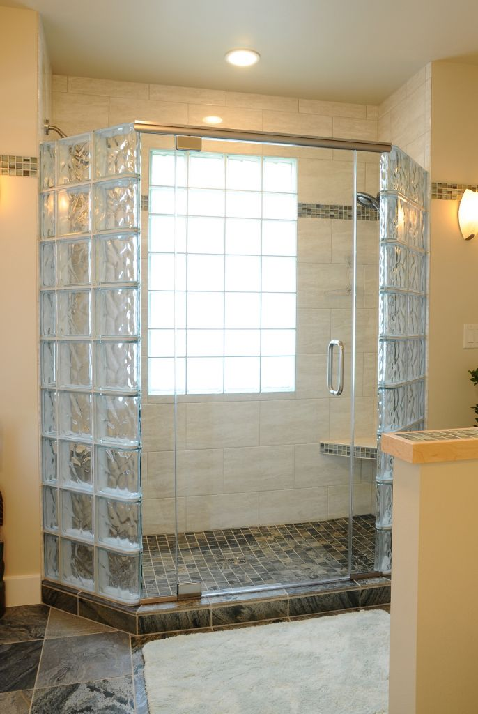 How to create a luxury glass block shower with a frameless for Glass block window design ideas