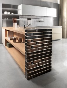 Solid glass brick kitchen divider wall in Nordica color