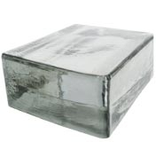"Clear solid glass brick in a 4 1/2"" x 4 1/2"" x 2"" size"