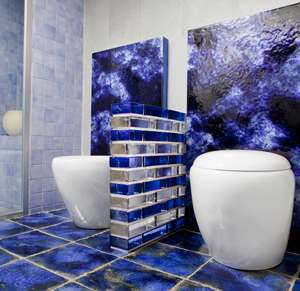 Solid glass brick wall in a bathroom with blue and clear units