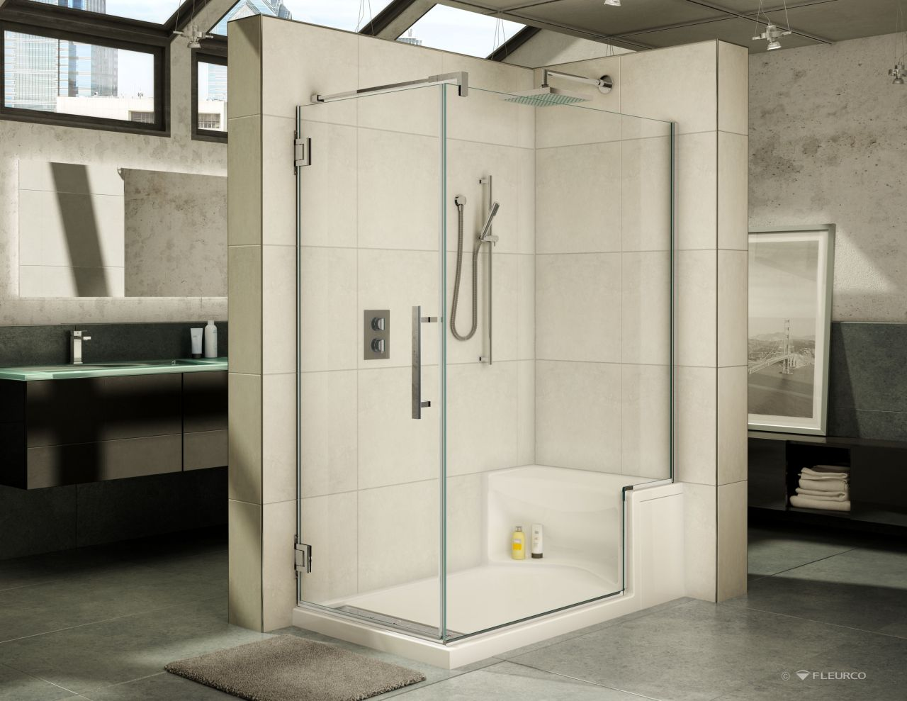 "60"" x 36"" Fleurco acrylic shower base with bench seat and matching ..."