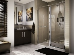 Roman half curved acryilc base wtih a pivoting shower door