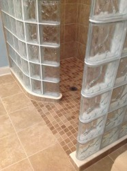 Barrier free ready for tile shower base blends into bathroom floor