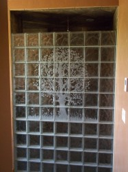 Etched Tree Mural in a Glass Block Shower wall