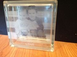 Etched glass block gift with pictures of the kids