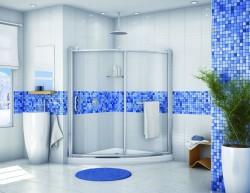 Wedge acrylic corner shower base with sliding doors