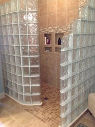Glass block shower with a ready for tile shower base