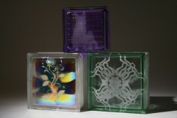 Colored and etched glass blocks