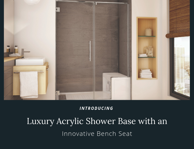 Luxury acrylic shower base with a bench seat | Innovate Building Solutions