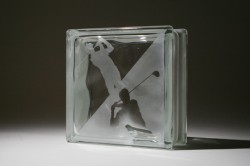 Golfer on an etched glass block