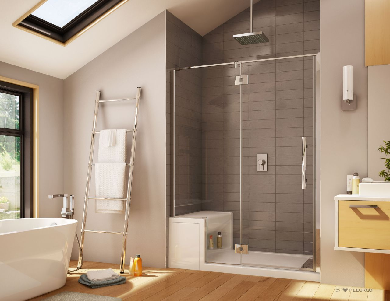 Alessa 60 x 36 acrylic shower base with Platinum series glass enclosure -  one wall system