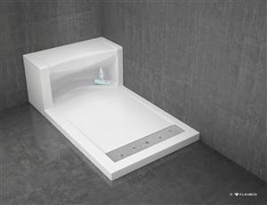 Alessa Acryilc Shower Base With Linear Style Drain And Bench Seat With  Storage