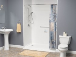 A tub converted to an accessible shower